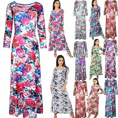 Womens Evening Maxi Dress Ladies Swing Dress 3/4 Sleeve Cocktail Party Flared