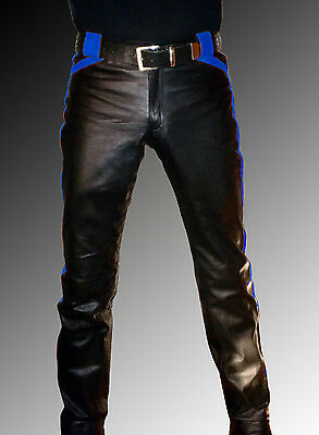 discount sale cost charm select for best MEN`S LEATHER PANTS black blue Designer leather pants leather trousers new