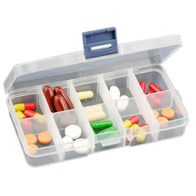 Plastic 10 slots adjustable jewelry storage clear box case for Plastic grid sheets crafts