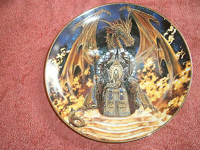 """Franklin Mint / Royal Doulton  """"dragon Fire""""  Collectors  Plate  With Crystal"""
