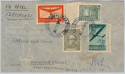 56446  -   Argentina -  Postal History: Certified Airmail Cover 1942