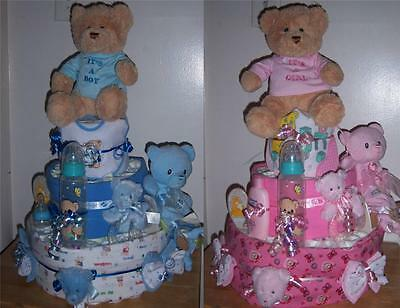 Baby Shower 3 Tier It's a Girl or It's a Boy Bear Diaper Cake