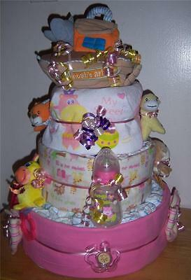 Baby Shower 3 Tier Noah's Ark Diaper Cake, Pink, Blue, or Neutral