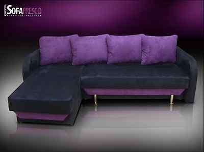 New Chaise Hidden Bed Corner Sofa, Sofa Bed 'Fresco' Faux Suede Fabric