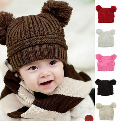 2016 New Winter Warm Lovely Baby Kids Girls Toddler Knitted Crochet Beanie Hat