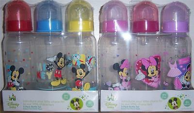 NEW 3PK MICKEY MOUSE OR MINNIE MOUSE 9oz BOTTLES, BABY SHOWER
