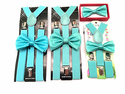 Teal Mint Suspenders and Bow tie Sets