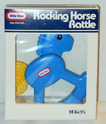 Little Tikes ROCKING HORSE Rattle NEW/Mint in Box Blue Vintage 1990
