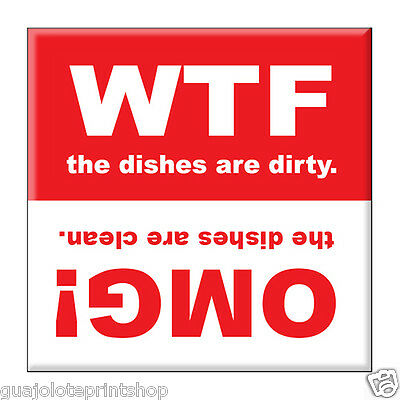 WTF Funny Clean Dirty Dishwasher Fridge Refrigerator Magnet Guajolote Prints™