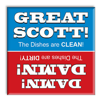 Clean Dirty Dishwasher Magnet Blue and Red - Funny Great Scott Damn Kitchen Sign