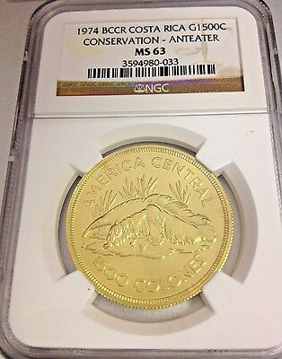 BCCR Costa Rica 1974 Gold Coin 1500 Colones Giant Anteater Conservation NGC MS63