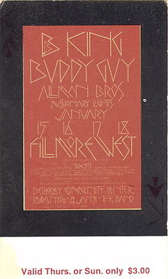 Duane Allman Brothers Band / B.B. King 1970 Fillmore West Concert Ticket