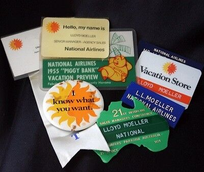 Vintage NATIONAL AIRLINES Badges Stickers Cards Lot