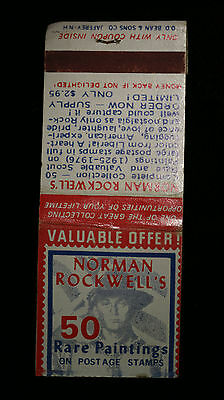Vintage Norman Rockwell's 50 Rare Paintings on Postage Stamp Matchbook Matches