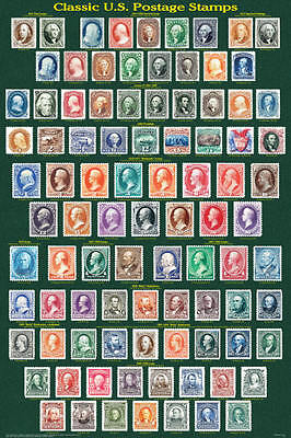 Classic U.S. Postage Stamps Educational Collectors Reference Chart Poster 24x36