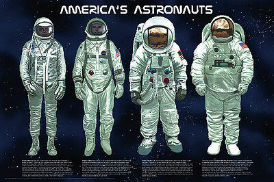 America's Astronauts Laminated Educational Space Chart Poster 24x36