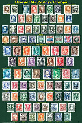 Classic U.S. Postage Stamps Laminated Collectors Reference Chart Poster 24x36