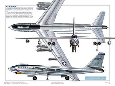 B-47 3-View Educational Science Airplanes Classroom Chart Poster 18x24