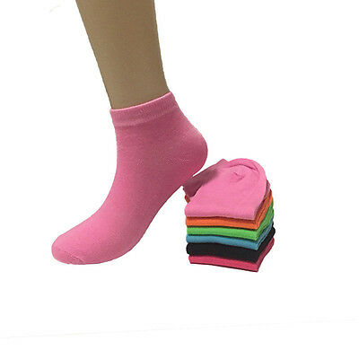 6-12 Pairs New Womens Candy Color Sports Fashion Low Cut Cotton Socks Size 9-11