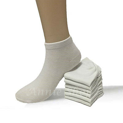 6-12 Pairs Women's New Low Cut White Ankle Socks Sports Casual Cotton Size 9-11