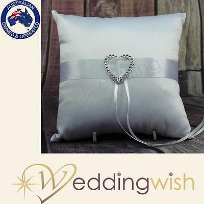 Heart Bling White Wedding Ring Pillow, Ring Cushion, Accessories