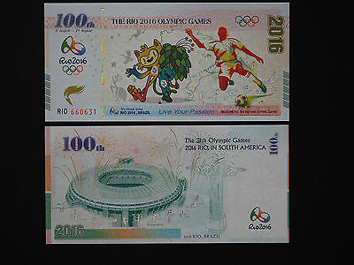 Brazil Banknotes  -  Brilliant Rio Olympic Games Notes    * Unc *