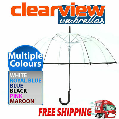 Birdcage Clear Dome Umbrella Wedding Rain Transparent Parasol Automatic