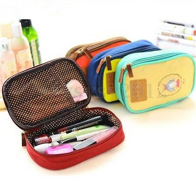 Cute Canvas Pen Pencil Case Cosmetic Makeup Bag Travel High Capacity Stationery