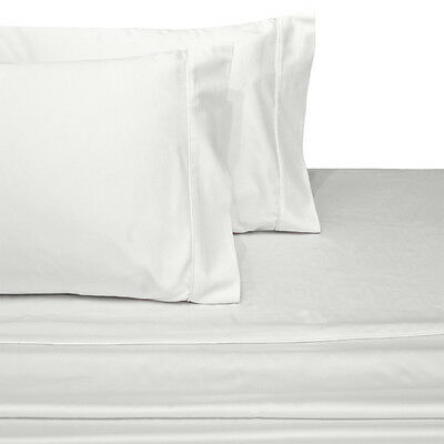 Sateen Solid White Queen Size Sheets, Deep Pocket 100% Cotton 4PC Bed Sheet  Set