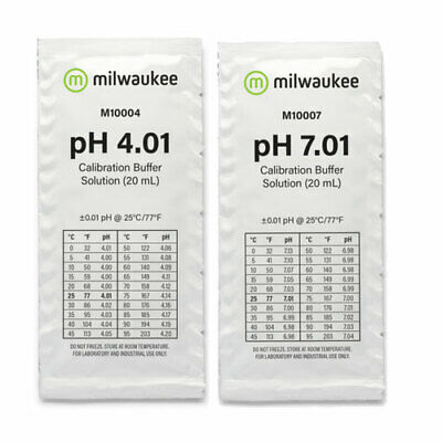 Milwaukee pH Meter Calibration Buffer Sachets 4.01 & 7.01pH | CHOOSE PACK SIZE
