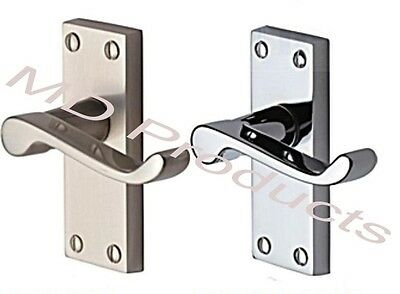 Quality Premier Victorian Polished&Satin Chrome Lever Scroll Latch Door Handles