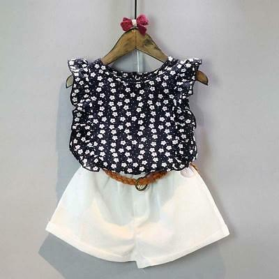 2PCS Cute Toddler Kids Baby Girls Clothes T-shirt Tops+Shorts Skirts Outfits Set