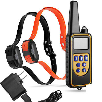 1000 Yard Waterproof Rechargeable Remote Shock Vibra Training Collar for 2 Dog