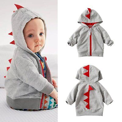 Toddler Infant Kids Baby Boy Dinosaur Zip Jacket Coat Hoodie Hooded Outwear Tops