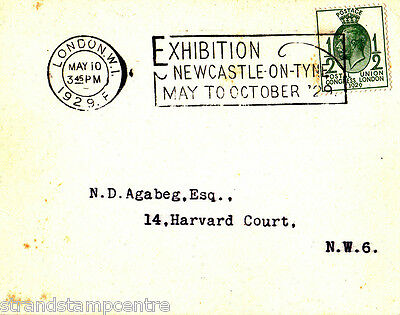 1929 PUC ½d on Card - Exhibition, Newcastle on Tyne Slogan cancel