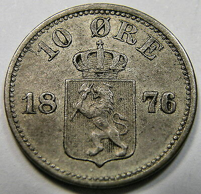 1876 Norway, 10 Ore Coin
