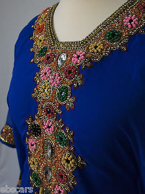 Blue and Gold  Embellished Farasha New Latest Design Abaya Kaftan Maxi dress