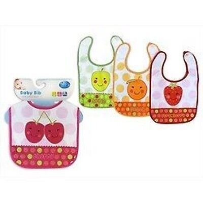 First Steps Baby Bib with Velcro for Toddler-Stawberry,Cherry,Apple,Orange-CO354