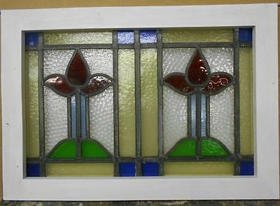 """MID SIZED OLD ENGLISH LEADED STAINED GLASS WINDOW Dual Floral 25"""" x 17.5"""""""