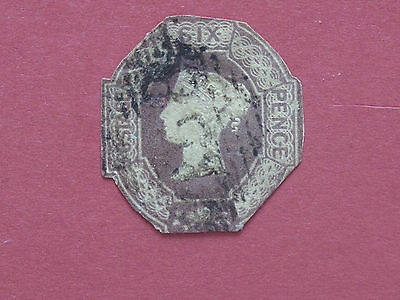 Lot #2013 Victoria 1847 6d Lilac Embossed Cut To Shape Used SG59 (1)