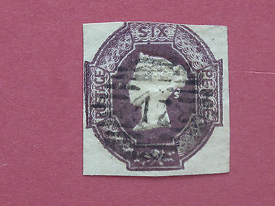 Lot #2014 Victoria 1847 6d Lilac Embossed 2 Margins, 3rd Close Used SG59 (1)