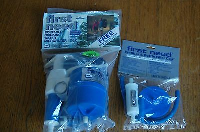 First Need Backpacking Water Filter Pump Purifier + EXTRAS FREE SHIPPING