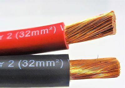 30' Ft Excelene 2 Awg Gauge Welding Battery Cable 15' Red & 15' Black Usa Copper