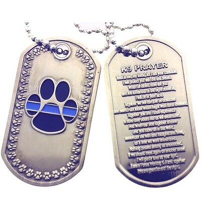 K-9 Paw - K-9 Thin Blue Line K9 Paw and K9 Prayer Brushed Steel Dog Tag