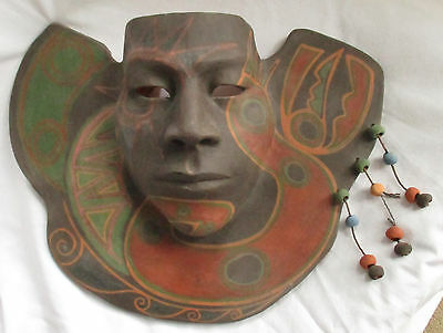 Vintage Signed Clay Pottery Mask Mexico