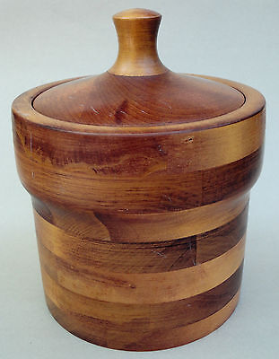 Baribocraft Canada Ice Bucket 1970s Wood Maple Staved Cork Lined Lid no liner