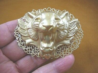(B-LION-751) Lion head roaring + teeth Big cat filigree oval brass pin pendant