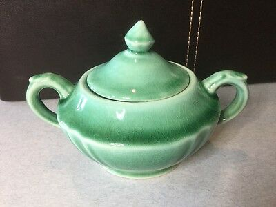 Antique/vintage Green Ceramic Two Handled Sugar Dish