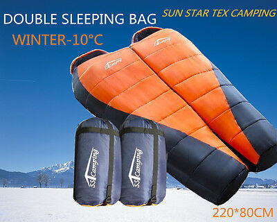 Double Sleeping Bag *Combo Twin* Thermal Tent Camping Hiking Winter -10°C