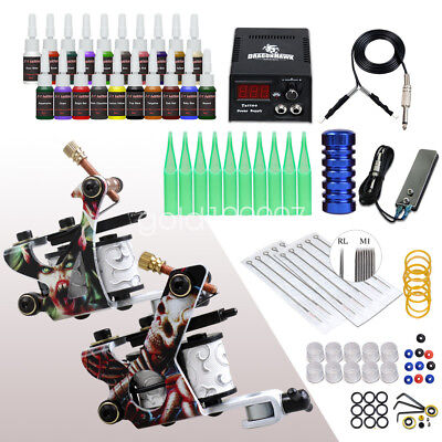 Tattoo Kit 2 Machine Gun Power Supply Set 20 color inks Needles Grip Tip D175GD